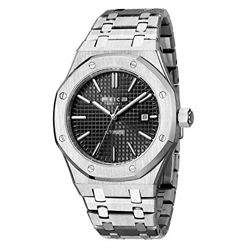 FEICE Sports Automatic Watch Men's Waterproof Stainless Steel Mechanical Watch Sapphire Crystal Casual Dress Wrist Watches for Men -FM019 Black