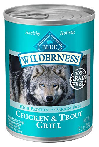 Blue Buffalo Wilderness High Protein Grain Free, Natural Adult Wet Dog Food, Trout & Chicken Grill 12.5-oz can (pack of 12)