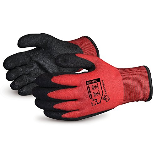 Superior Winter Work Gloves - Fleece-Lined with Black Tight Grip Palms (Cold Temperatures) SNTAPVC – Size Large