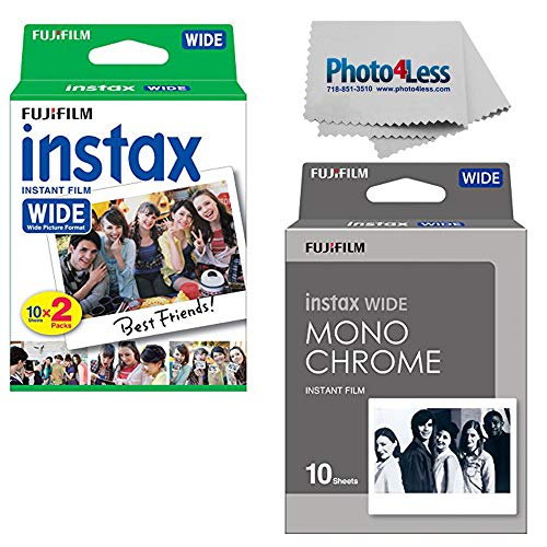 Fujifilm Instax Wide Instant Film Twin Pack (20 Sheets) + Fujifilm Instax Wide Monochrome Film (10 Sheets) + Camera and Lens Cleaning Cloth top Value Bundle
