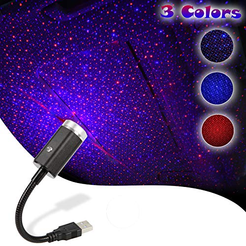 USB Star Light,3 Colors - 7 Lighting Effects,Adjustable Multiple Modes Lighting Style with USB Port,Atmosphere Decorations for Car Interior,Ceiling, Bedroom, Party and More (Blue&Red)