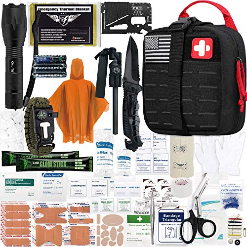 Everlit Survival Upgraded Survival First Aid Kit Emergency Gear Trauma Kit with 1000D Nylon Laser Cut Tactical EMT Pouch for Outdoor, Camping, Hunting, Hiking, Earthquake, Home, Office (Black)