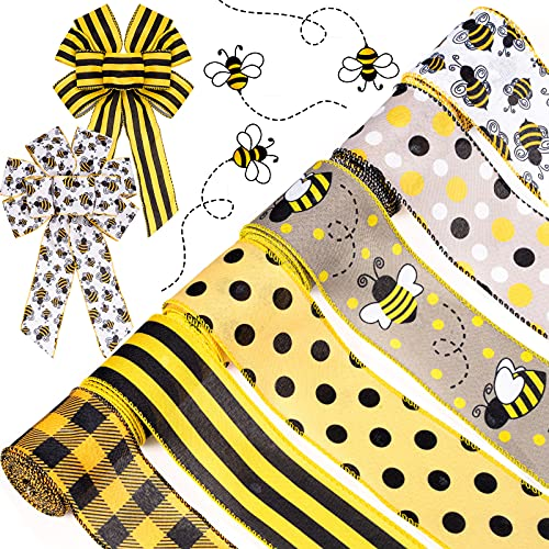 Whaline 30 Yard Bumble Bee Ribbon 6 Design Yellow Black Dots Plaid Strip Wired Edge Ribbon Summer Fabric Craft Decorative Ribbon for Gift Wrapping Birthday Party Decor Hair Bow Sewing