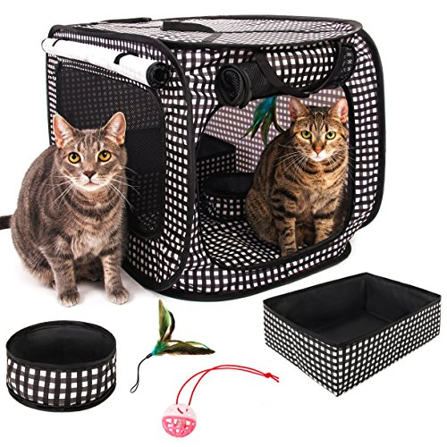 CHEERING PET, Cat Condo Cage, Travel Cage, Portable Pet Crate, Collapsible Litter Box, Foldable Feeding Bowl, Hanging Feather Teaser and Ball, Carrying Bag, Extra Large 32' X 19' X 19' (Checker Board)