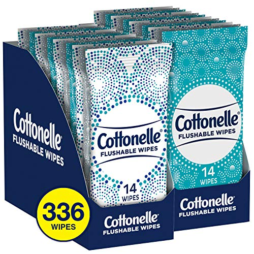 Cottonelle Flushable Wipes, 2 Trays of 12 Individually Wrapped Packs, 14 Wipes Each Pack (336 total)