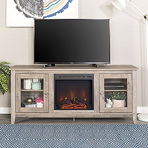 Home Accent Furnishings Lucas 58 Inch Television Stand with Fireplace in Grey Wash