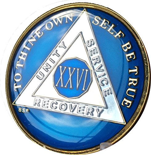 Bright Star Press 26 Year Midnight Blue AA Alcoholics Anonymous Medallion Chip Tri Plate Gold & Nickel Plated