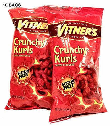 Vitner's Sizzlin Hot Cheese Crunchy Curls A Chicago Original 10 3.5 oz Bags