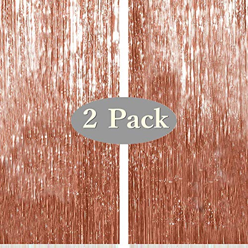 Twinkle Star Photo Booth Backdrop Metallic Tinsel Foil Fringe Curtains Environmental Background for Birthday Wedding Party Christmas Decorations (2 Pack, Rose Gold)
