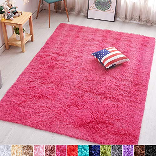 PAGISOFE Hot Pink Fluffy Shag Area Rugs for Bedroom 5x7, Soft Fuzzy Shaggy Rugs for Living Room Carpet Nursery Floor Girls Room Dorm Rug