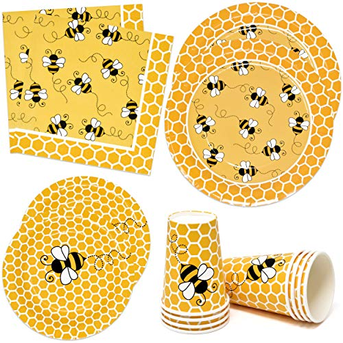 Bumble Bee Party Supplies Tableware Set Includes 24 9' Plates 24 7' Plate 24 9 Oz Cup 50 Lunch Napkin Honey Bees Honeycomb Baby Shower & Happy Bee Day Birthday Disposable Paper Dinnerware Decorations
