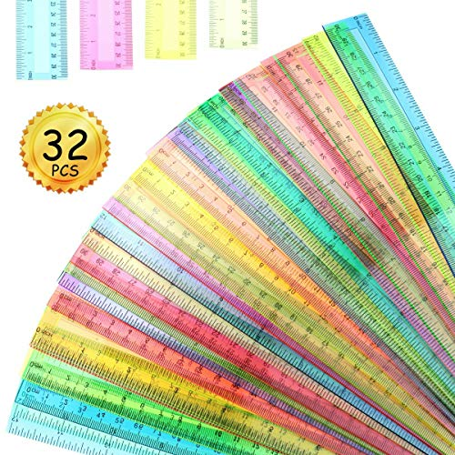 Heatoe 32 Pcs 12 Inch Plastic Rulers,4 Colors Transparent Ruler,Ruler Set,Value Package of Clear Rulers for School,Home and Office