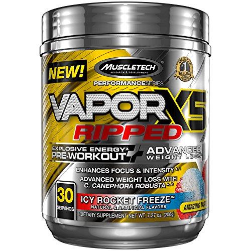 MuscleTech Vapor X5 Next Gen Pre Workout Powder & Weight Loss Supplement, Explosive Energy & Advanced Weight Loss, Icy Rocket Freeze, 30 Servings (7.27oz)