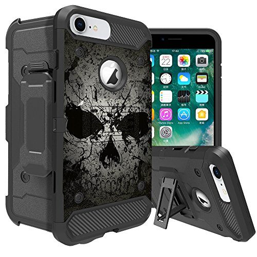 MINITURTLE Compatible with Apple iPhone 6   iPhone 6s All Around Case [Rugged Case w/Carbon Fiber, Rotating BeltClip & Kickstand Case Faded Skull