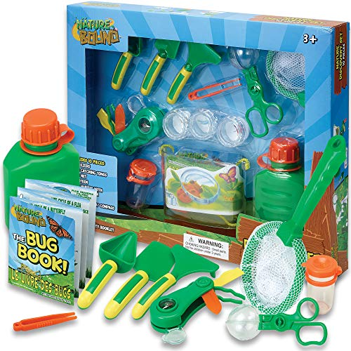 Nature Discovery Kit for Hiking and Camping, 10 Piece Set with Canteen, Multitool, Bug Habitat, Net, Field Guide, Tweezers, Petri Dish, Bottle, and Magnifier Toy for Boys and Girls of All Ages