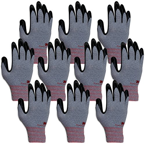 3M Super Grip 200 All Day Comfort Nitrile Foam Coated Work Gloves-10 Pairs (Large, Gray)