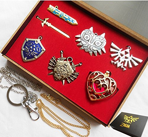 Legend of Zelda Necklace Pendant Keychain Set Blade Weapon Link Shield Links Sword Collection Gift Box (6 Pcs.)