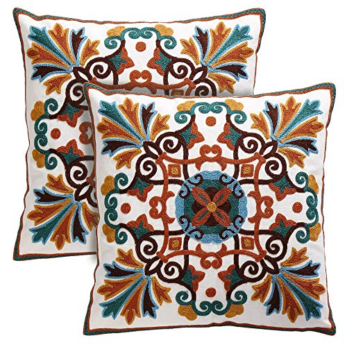 Oneslong Pack of 2 Decorative Throw Pillow Cases Embroidery Couch Pillow Covers 18x18 Inch Bohemia Design Hidden Zipper for Bed Livingroom Sofa Car