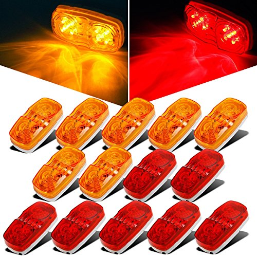 Partsam 14x Trailer Marker LED Light Double Bullseye 10 Diodes Clearence Light Red/Amber, 4x2 Tiger Eye/Double Bubble 12V Rectangular LED Side Marker Light Indicators Surface Mount RV Camper Trucks