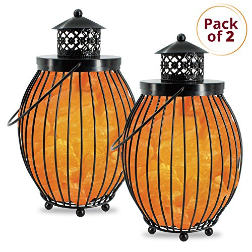 Himalayan Glow 1342B Lantern Style Basket Night Chunks,Pink Nightlight,Salt Lamp Bulb,(ETL Certified) Dimmer Switch,Pleasant & Relaxing Amber Glow | 7-9 LBS (Pack of 2)