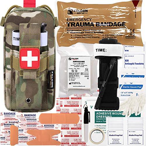 Falcon Medi-Tac Everyday Carry Trauma Kit IFAK Emergency Treatment Care EMT First Aid Kit (Mulitcam)