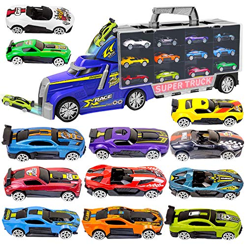 20' Large Carrier Truck with 12 Pcs Sports Car,Carrying Handle and Two Clear Doors Both Side, Up to Srorage 24 Mini Vehicle, Transport Truck with Durable Wheels, Great for 3 4 5 6 7 8 9 years old Kids