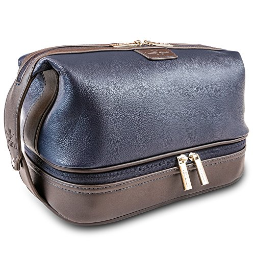 Vetelli Leather Leo Bag, Spacious Toiletry Bag for Traveling, Perfect Gift, Water Resistant, Durable