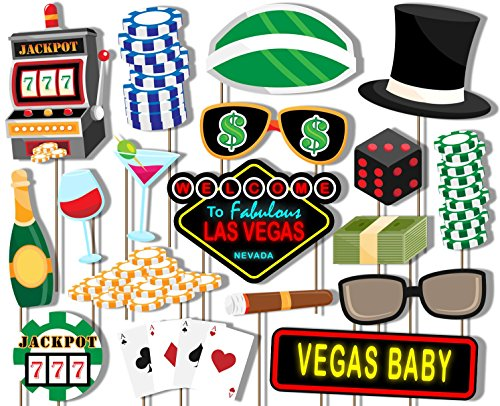 Birthday Galore Las Vegas Casino Photo Booth Props Kit - 20 Pack Party Camera Props Fully Assembled