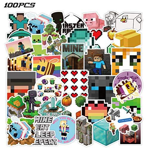 Minecraf_t Stickers 100PCS Video Game Stickers Vinyl Waterproof Stickers for Kids Boys Girls Teens Adults Water Bottles Laptop Computer Skateboard Guitar Decor