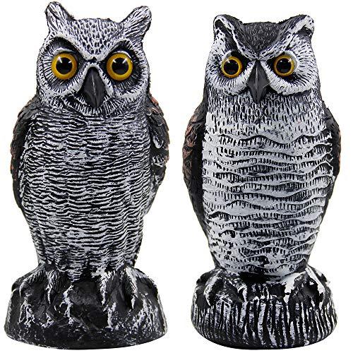 Hausse 2 Pack Fake Horned Owl Bird Scarecrow Decoy, Plastic Owl Bird Deterrents, Nature Enemy Pest Repellent for Outdoor Garden Yard