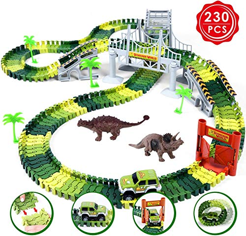 Ohuhu Dinosaur Race Track Toys, 230 Pieces Race Car Flexible Tracks Play Set, Create A Road, 2 pcs Cool Dinosaur for 3 4 5 6 Year & Up Old Boys Girls Birthday Gift