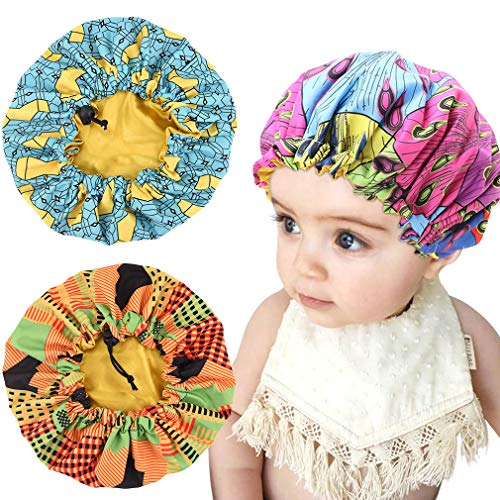 3 Pieces Kids Satin Bonnet Adjustable Sleeping Cap Soft Silk Flower Night Hats for Natural Hair Teens Toddler Child Baby Reversible Double