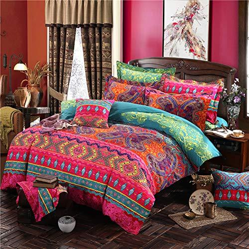 Omelas Bohemian King Duvet Cover Set Colorful Boho Floral Bedding Super Soft Microfiber Duvets Cover King Size Zipper Closure Indian Tribal Exotic Comforter Cover (MJH,K,3pcs)