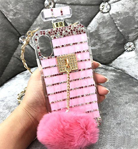 Losin Perfume Case Compatible with Apple iPhone 6 / iPhone 6S 4.7 Inch Luxury Bling Diamond Rhinestone Bow Perfume Bottle Furry Plush Ball Bling Glitter Gemstone Soft TPU Back Case with Lanyard