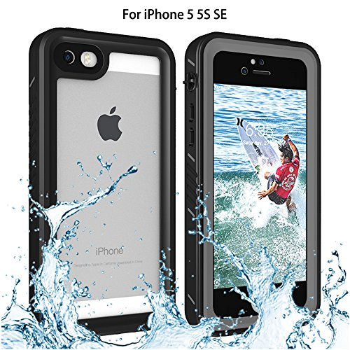 Re-sport iPhone 5/5S Waterproof Case, Shockproof Dustproof Full-Sealed Protective Underwater Phone Case Cover with IP68 Certificated Compatible with iPhone 5 5S SE 2016 (Black)