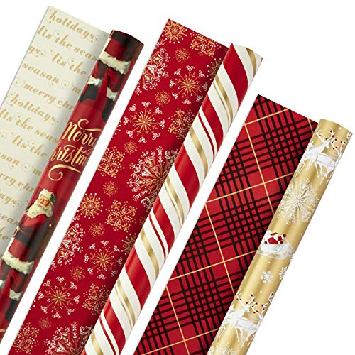 Hallmark Christmas Reversible Wrapping Paper, Classic Santa (Pack of 3, 120 sq. ft. ttl) Red and Gold Snowflakes, Stripes, Plaid, Santa's Sleigh