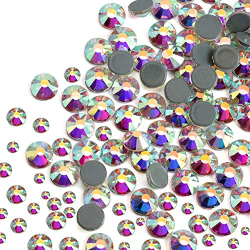 Dowarm 2400 Pieces Mixed Size Hotfix Crystal AB Rhinestones, Hot Fix AB Stones Crystals for Crafts Clothes, Flatback Glass Crystal Rhinestone Gems for Decoration SS6 SS10 SS16 SS20 SS30