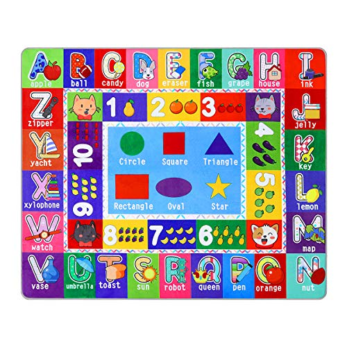 Partykindom Kids Play Rug Mat Playmat with Non-Slip Design Playtime Collection ABC, Numbers, Shapes and Animals Educational Area Rug for Children Kids Bedroom Playroom(53.5 x 43.5 inch) (135 x 110 cm)