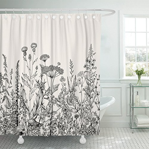 Emvency Shower Curtain Floral Border Herbs and Wild Flowers Botanical Engraving Black Waterproof Polyester Fabric 72 x 72 Inches Set with Hooks