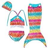 Little Girls 3 Pcs Mermaid Tail for Swimming Mermaid Bathing Suits Swimsuit Bikini Set 3-12 Years