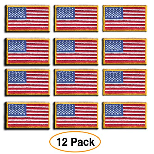 12 Pack - American Flag Embroidered Patch, Gold Border USA United States of America, US Flag Patch, sew on, Military/Army/Police Flag