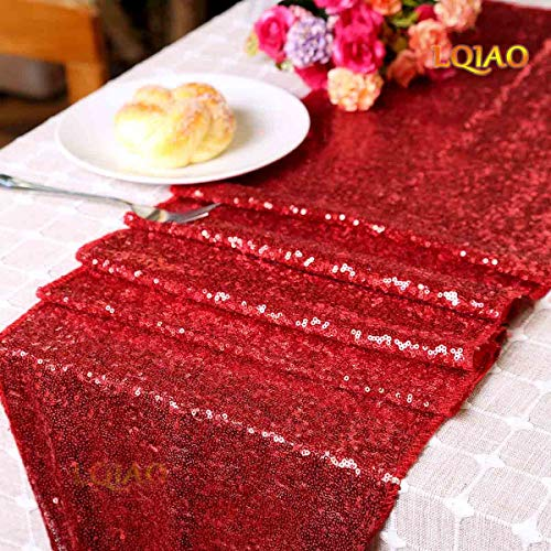 LQIAO Factory Wholesale 30x180cm Sequin Table Runner Red, Sparkly Sequin Fabric Rectangle Round Table Wedding Party DIY, Customize Accepted