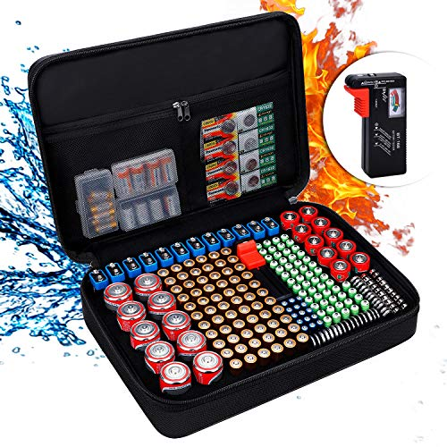 ENGPOW Battery Organizer,Fireproof Battery Organizer Storage Case with Tester (BT168),Waterproof Explosionproof Hard Holder Box with Cover,Holds 220+ AA AAA C D 9V Batteries