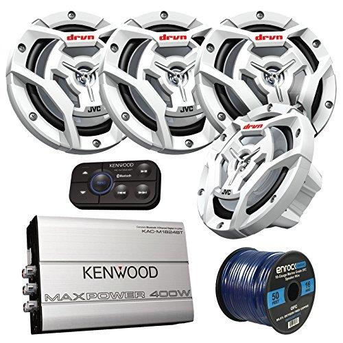 Marine Speaker and Amp Package: 4X JVC CS-DR6201MW 300-Watt 6.5' 2-Way Coaxial Speakers Bundle Combo with Kenwood 400-Watt 4-Channel Black Waterproof Bluetooth Amplifier + 50Ft 16g Speaker Wire