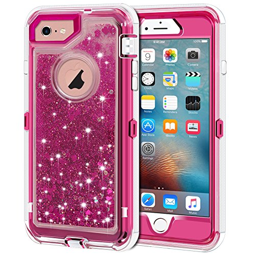 Anuck iPhone 6S Plus Case, iPhone 6 Plus Case, 3 in 1 Hybrid Heavy Duty Defender Case Sparkly Floating Liquid Glitter Protective Hard Shell Shockproof TPU Cover for iPhone 6 Plus/6S Plus - Rose Red