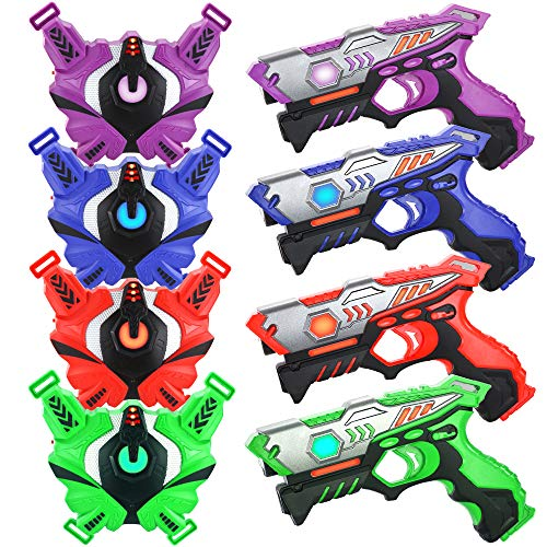 TINOTEEN Laser Tag Guns Set with Vests Infrared Guns Set of 4 Players