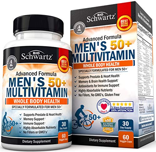 Once Daily Multivitamin for Men 50 and Over - Supplement for Heart Health Support - with Zinc, A, B, C, D3, & E Vitamins - for Memory & Brain Health Support - Designed for Whole Body Health -30 Ct
