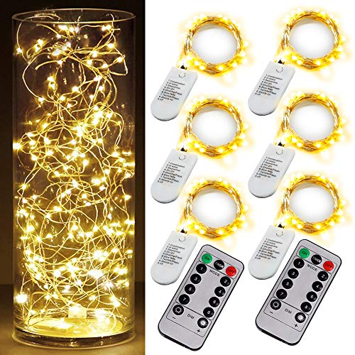 6PCS Fairy String Warm White Changing Twinkle Lights with 2 PCS Remote, 6.5ft 20 LEDs Silver Wire ,CR2032 Battery Powered, Indoor Decorative Bedroom,Wedding,Patio,Christmas,Outdoor Garden,Stroller