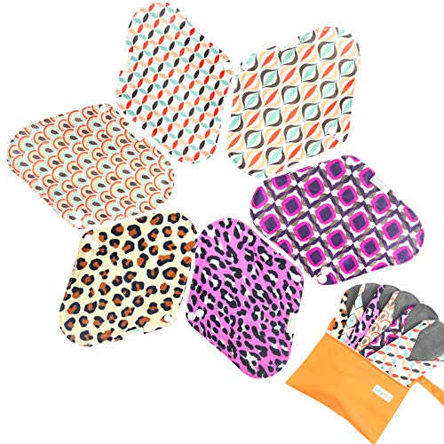 7pcs Set 1 pc Mini Wet Bag +6pcs Absorbent Reusable Sanitary Pads/Washable Bamboo Cloth Menstrual Pads (L,Geometry)
