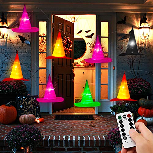 Halloween Decorations Outdoor - 8PCS IP67 Waterproof Hanging Witch Hat String Lights w Timer Battery Operated - Halloween Lights Outside Decor for Tree Porch Patio Garden Yard Party Home
